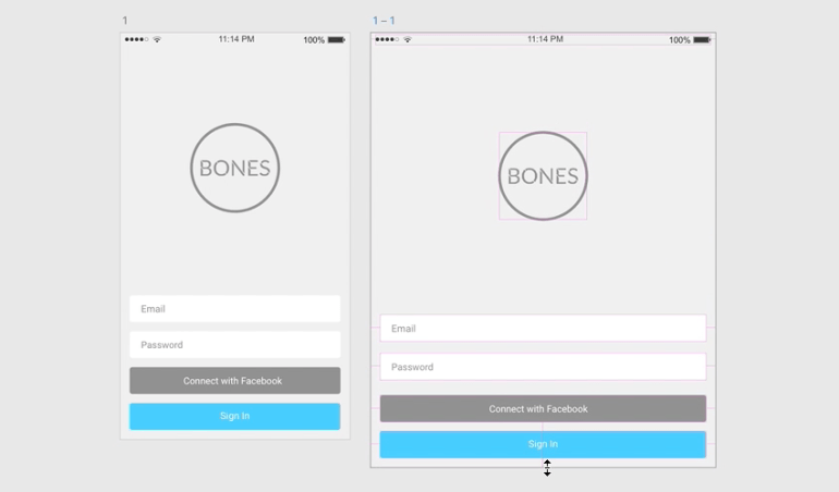 Original and resized UI in Adobe XD