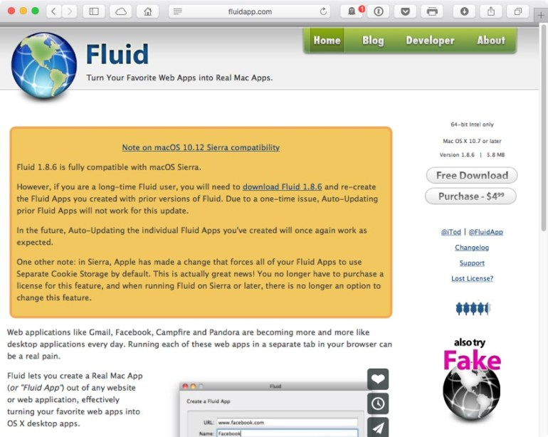 Download the Fluid app from the developers website