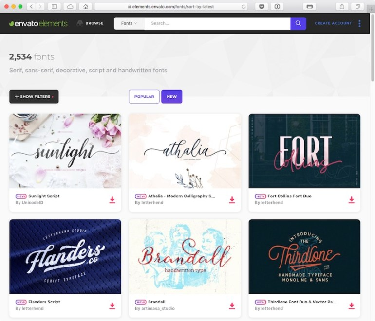 Browsing hundreds of fonts at Envato Elements