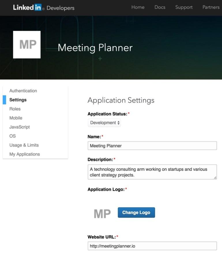 Building Your Startup OAuth - LinkedIn Dev App Settings