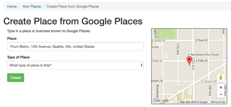 Yii Ajax - Google Maps UX Example