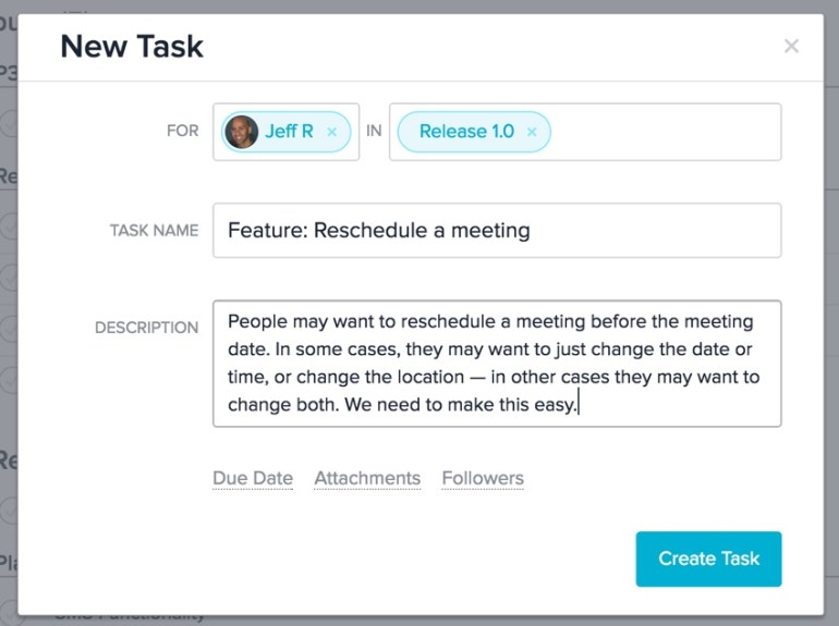 Meeting Planner Asana - New Task Form