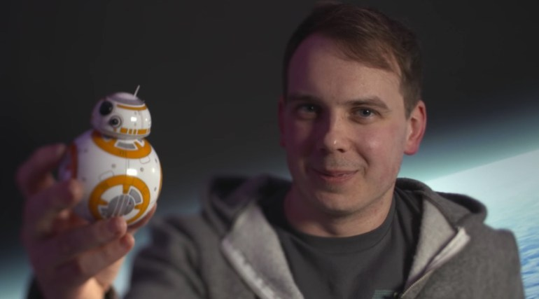 IBM Bluemix IoT Emotiv BB-8 Demo - Picture of Joshua Carr holding BB8 Droid