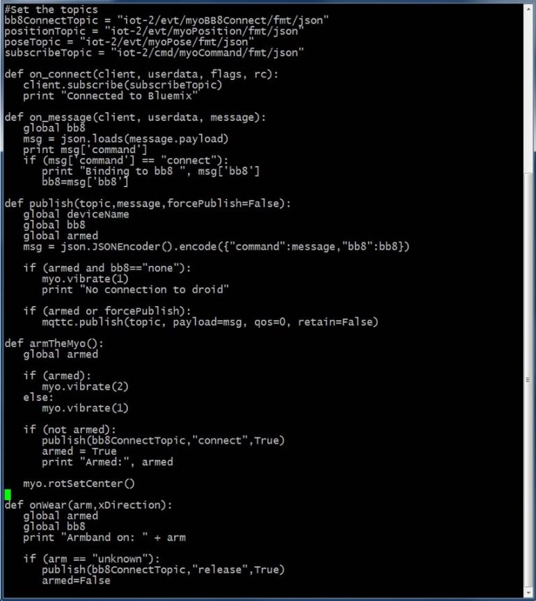 IBM Bluemix IoT Arm Gestures - Python Code from the Demo