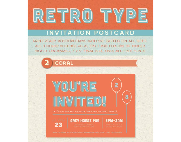 Retro Type Invitation Postcard