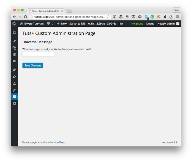 The final version of the Tuts Custom Administration Screen