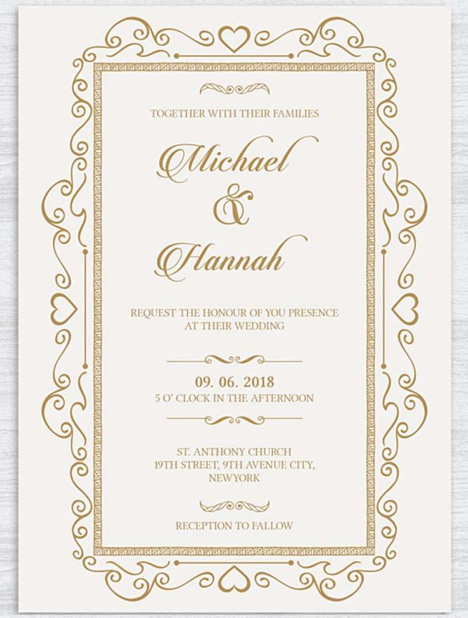 Traditional And Elegant Wedding Invite