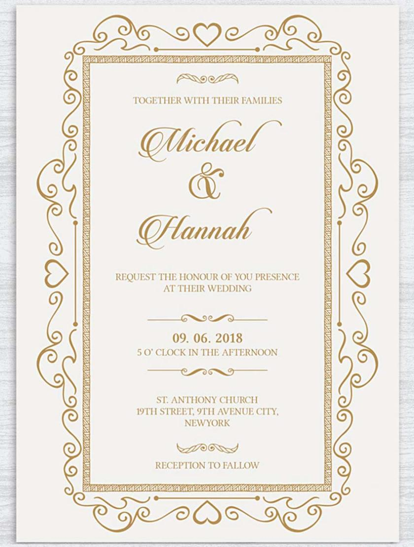 Traditional And Elegant Wedding Invite