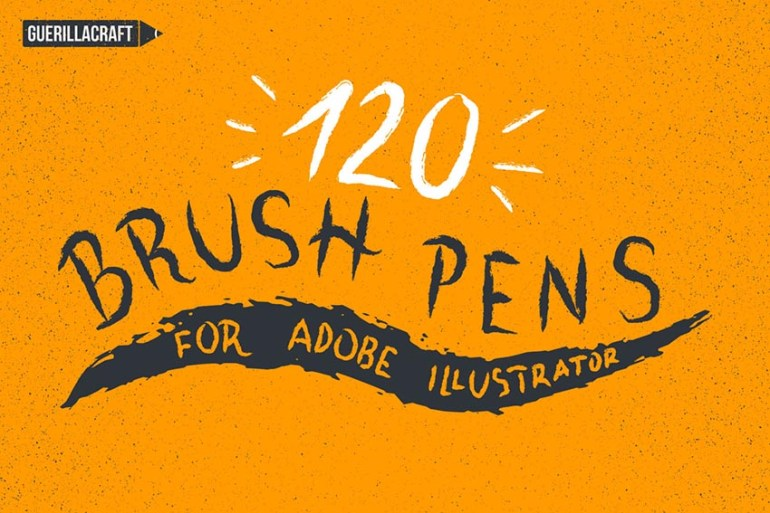 120 Brush Pens for Adobe Illustrator