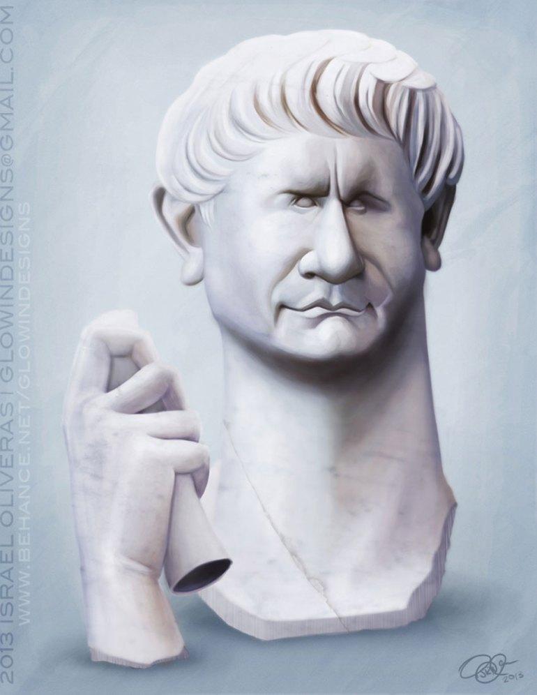Marcus Ulpius Traianus Caricature Art by Israel Oliveras
