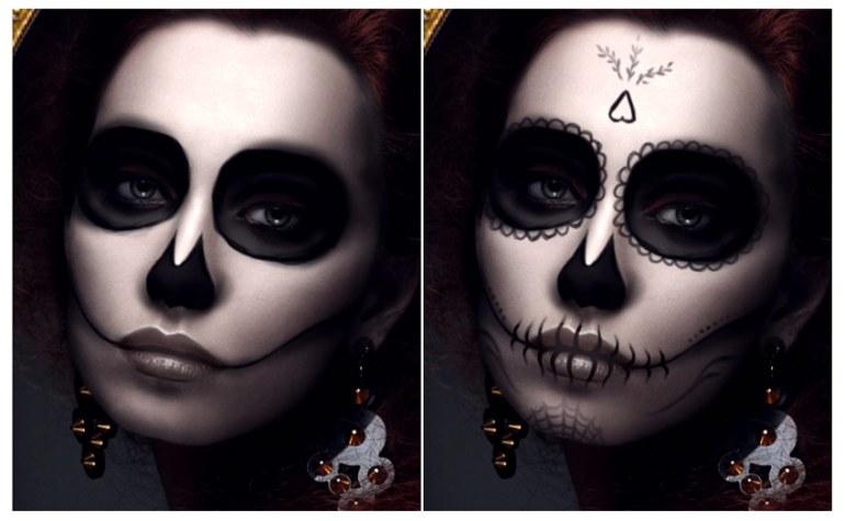 Draw more details for the calavera makeup