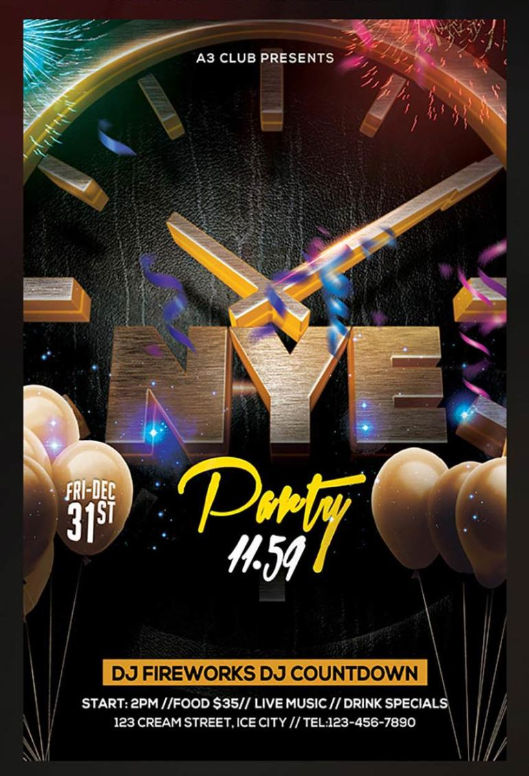 3D New Years Eve Flyer