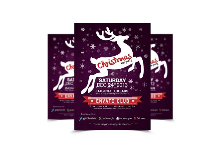 Reindeer Christmas Party Flyer
