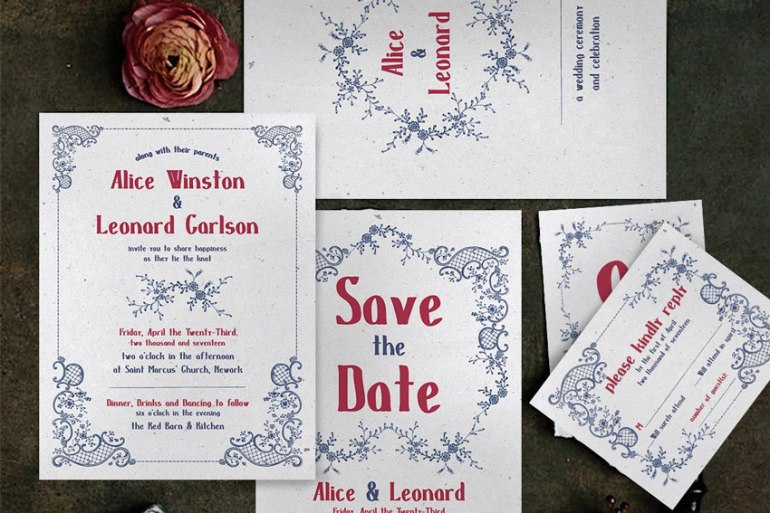 Embroidery Wedding Invitation