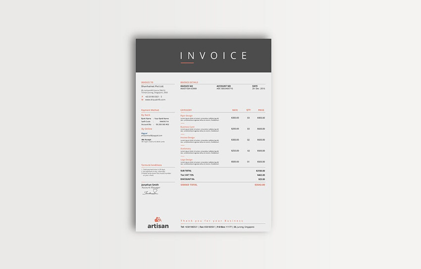 35 Invoice Templates for Corporations   Small Businesses Multipurpose Invoice Template