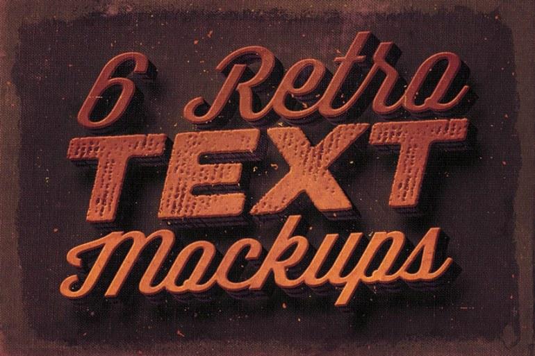 6 Retro Text Mock-ups