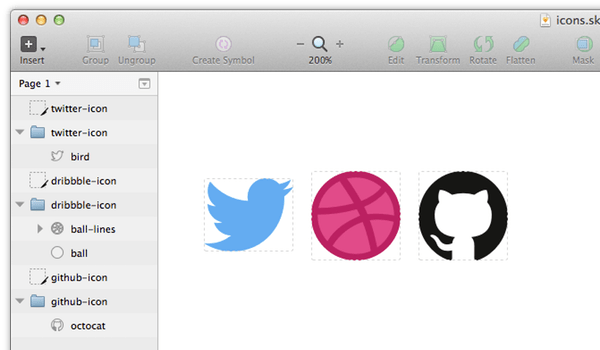 My chosen icons in Sketch with named layers  groups