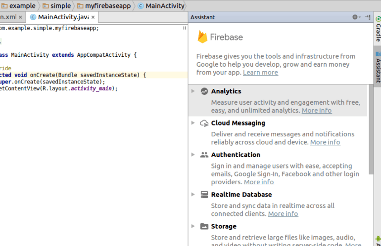 Firebase Assistant window