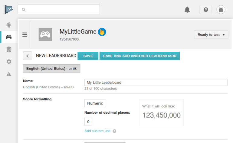 Leaderboard creation screen