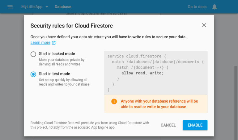 Firestore security configuration page