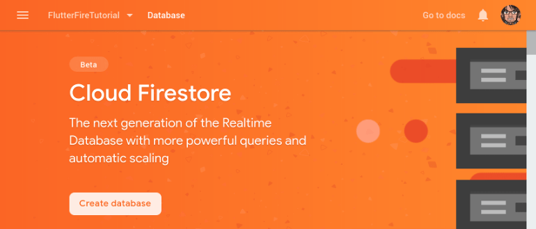 Welcome screen of Cloud Firestore