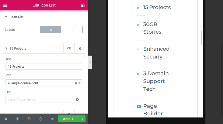 Editing the icon list