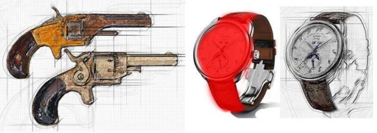 Sketch effect applied to antique pistols and a watch