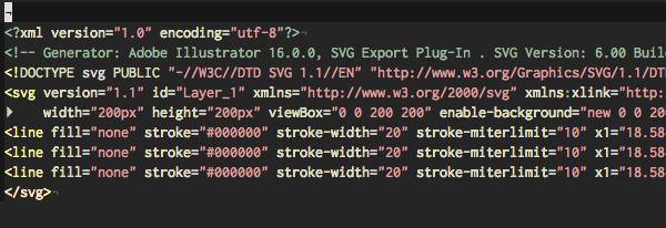 Screenshot of SVG code