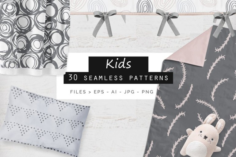 Cute Kids Seamless Patterns