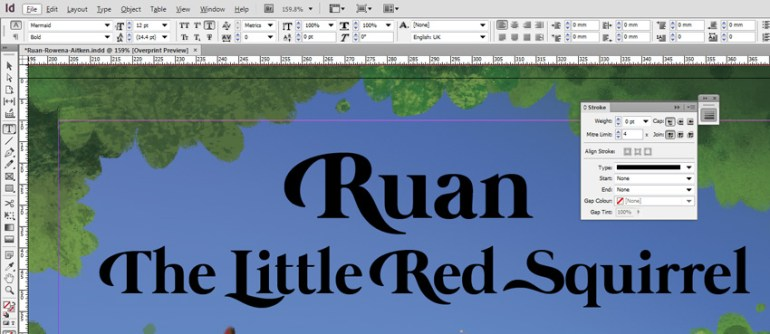 Black Ruan Title in InDesign
