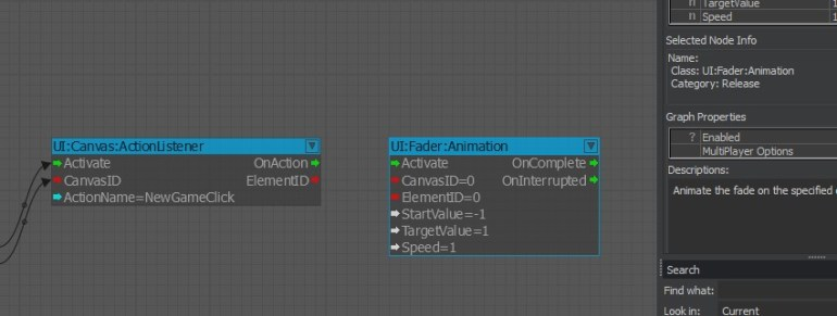 UI Fader Animation node representation