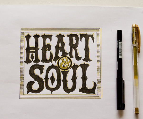 Heart and Soul gold hand lettering by Catherine Dawes