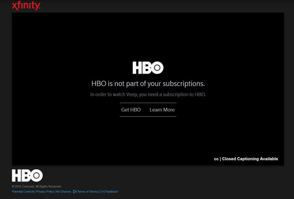 HBO is not part of your subscriptions