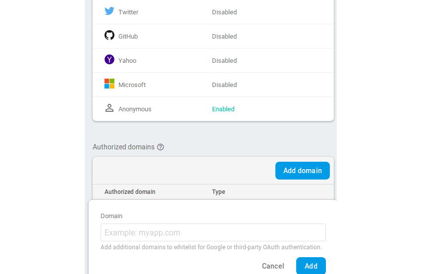 Configure the sign-in method and authorized domains