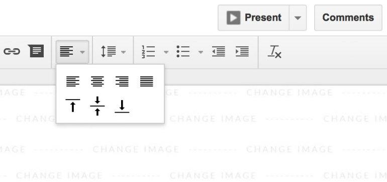 The alignment dropdown menu