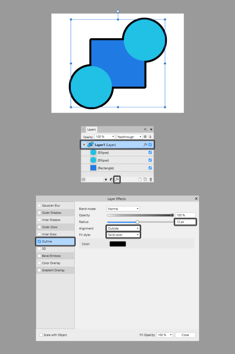 using the same effect on an entire layer using the layer effects window