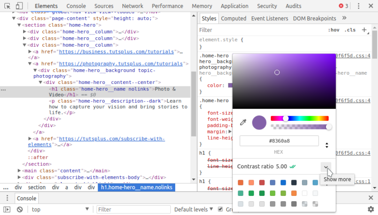 Expanding the tools to get more information on color contrast