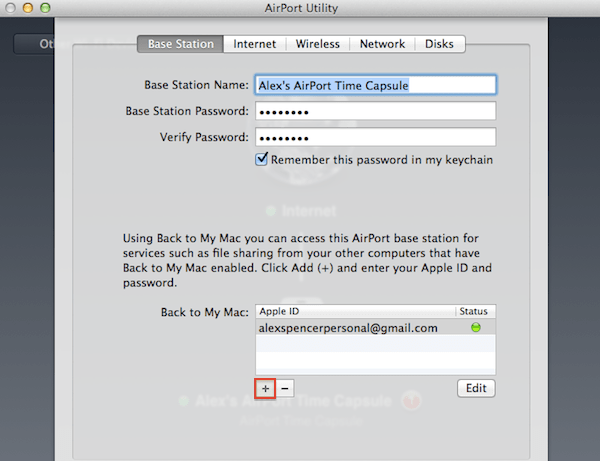 Back to My Mac Master Class Adding iCloud credentials to your Time Capsule