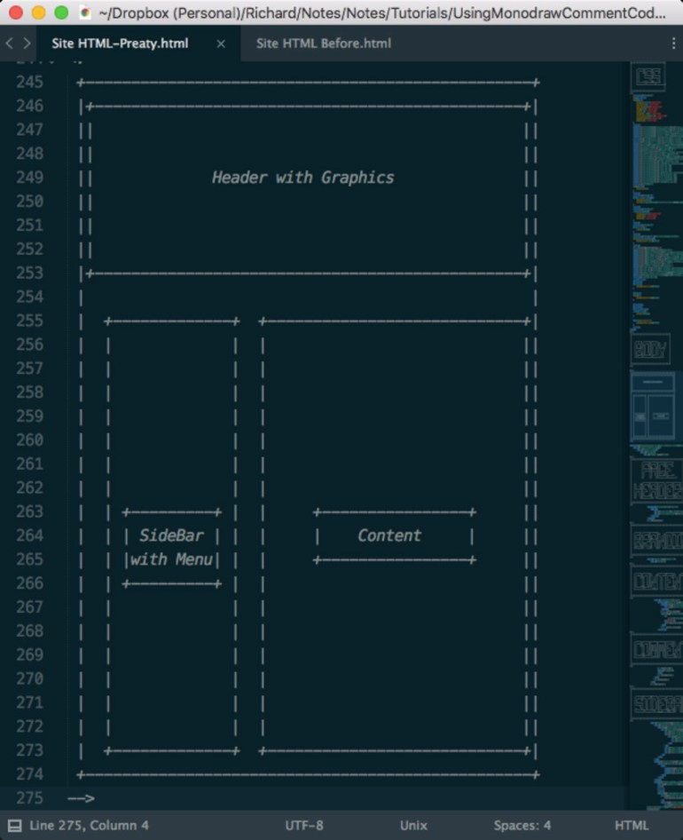 Site Layout Documentation Exported to Sublime Text