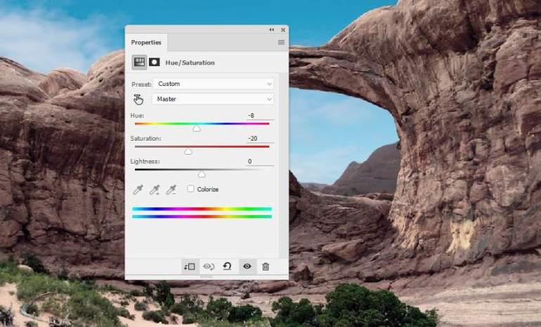 Photoshop Adjustment Layers  - rock hue saturation
