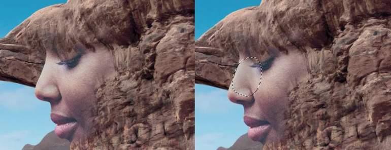 Photoshop Adjustment Layers - darken nose side