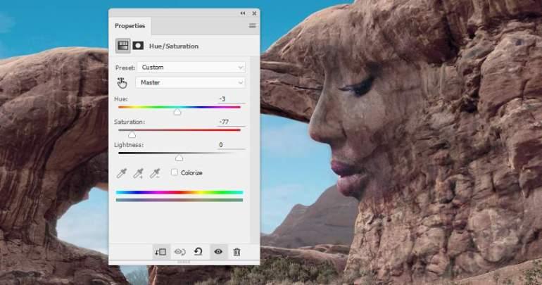 Photoshop Adjustment Layers  - face texture hue satiration