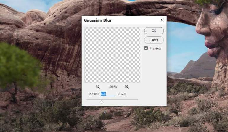 Photoshop Adjustment Layers  - tree gaussian blur