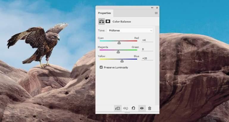 Photoshop Adjustment Layers  - hawk 1 color balance midtones