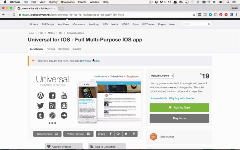 Universal for iOS product page