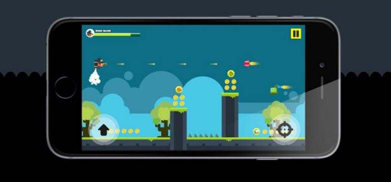 Flat Jetpack sample game with sprites and level background