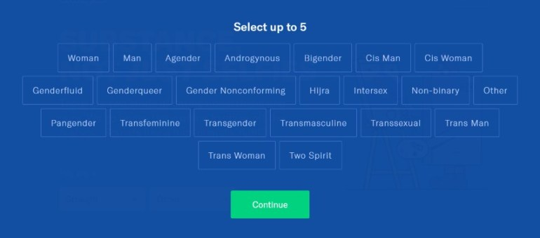 OkCupid gender selection