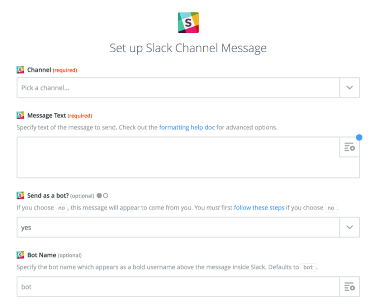 setting up slack message in Zapier