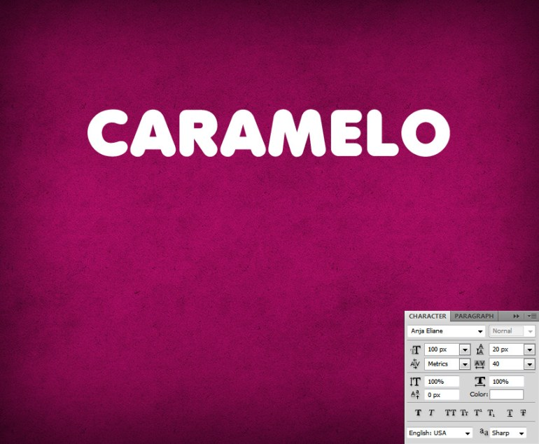 Type the word CARAMELO