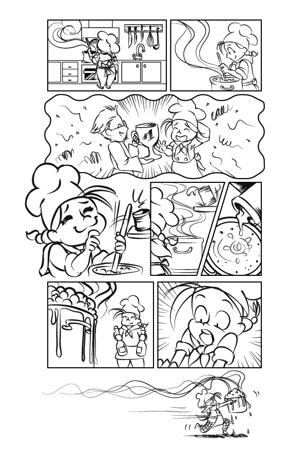 Diseño de página cómico terminado